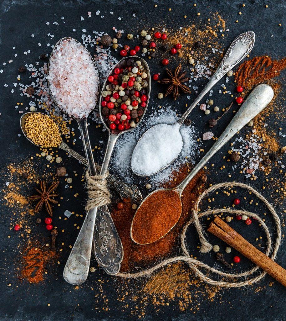 salt, pepper, spoons